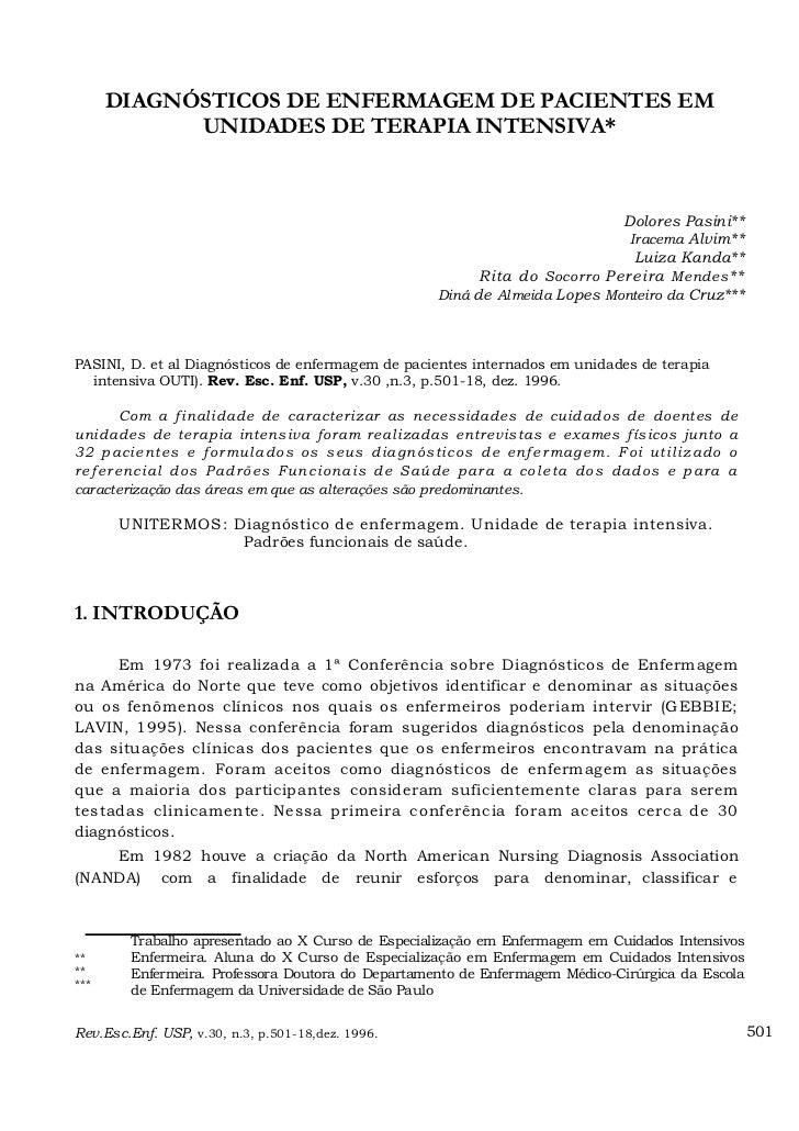 DIAGNÓSTICOS DE ENFERMAGEM DE PACIENTES EM            UNIDADES DE TERAPIA INTENSIVA*                                      ...