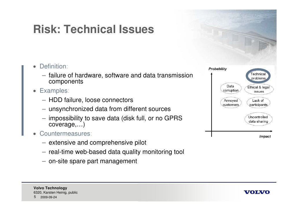 Risk: Technical Issues    Definition:    – failure of hardware, software and data transmission      components  Examples...