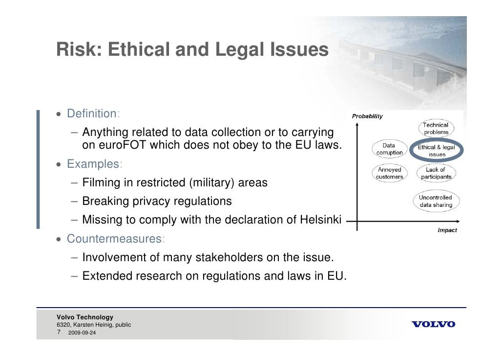 Risk: Ethical and Legal Issues    Definition:      – Anything related to data collection or to carrying        on euroFOT...