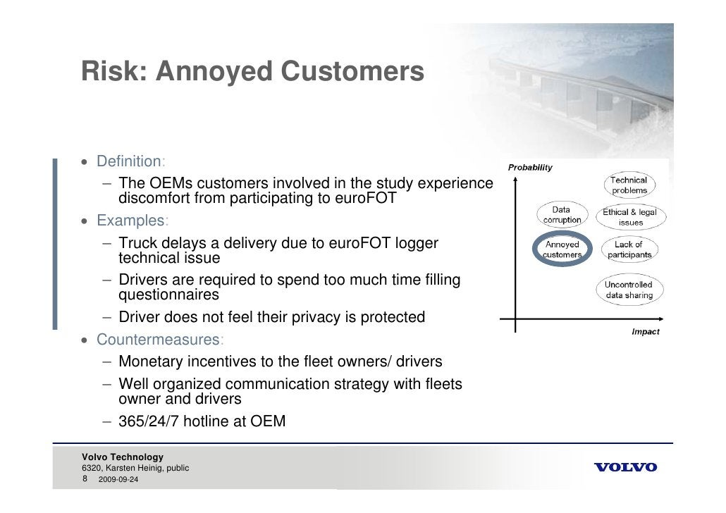 Risk: Annoyed Customers    Definition:    – The OEMs customers involved in the study experience      discomfort from part...