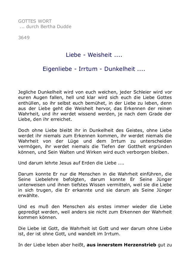 GOTTES WORT ... durch Bertha Dudde 3649 Liebe - Weisheit .... Eigenliebe - Irrtum - Dunkelheit .... Jegliche Dunkelheit wi...