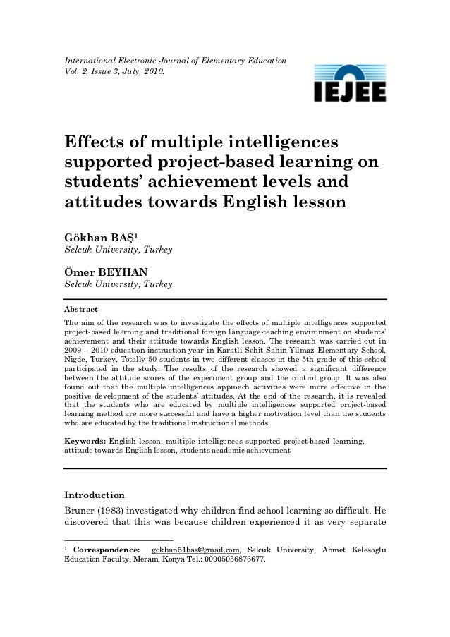 International Electronic Journal of Elementary EducationVol. 2, Issue 3, July, 2010. Effects of multiple intelligencessupp...