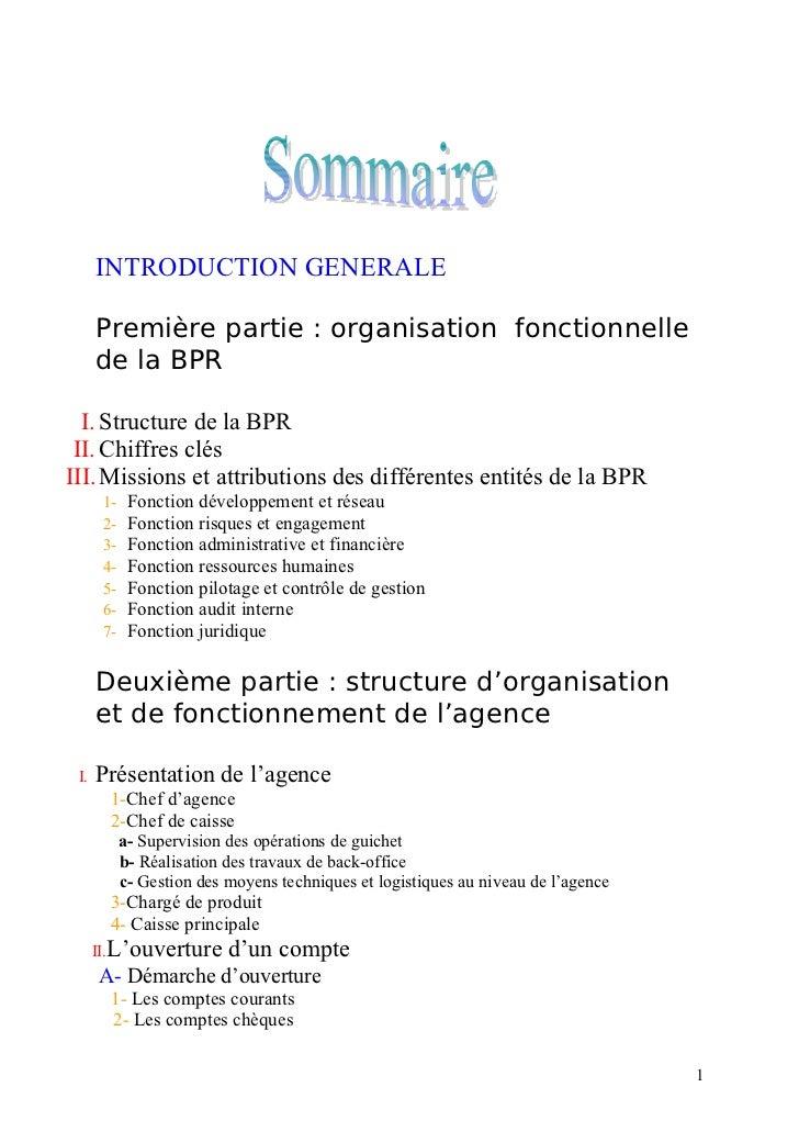 INTRODUCTION GENERALE      Première partie : organisation fonctionnelle      de la BPR  I. Structure de la BPR II. Chiffre...