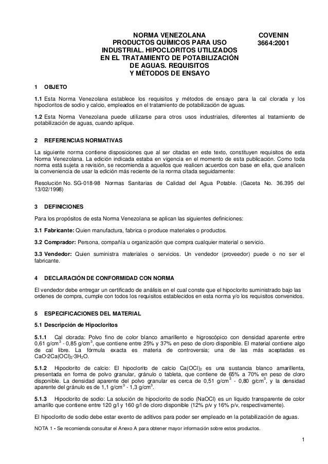 NORMA VENEZOLANA PRODUCTOS QUÍMICOS PARA USO INDUSTRIAL. HIPOCLORITOS UTILIZADOS EN EL TRATAMIENTO DE POTABILIZACIÓN DE AG...