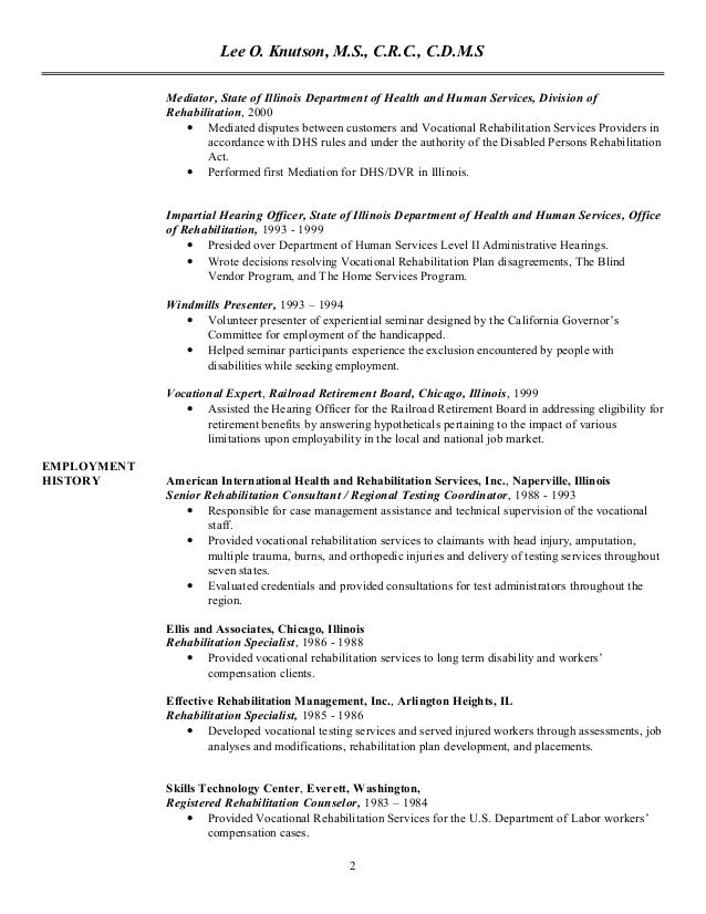 2 vocational counselor resume