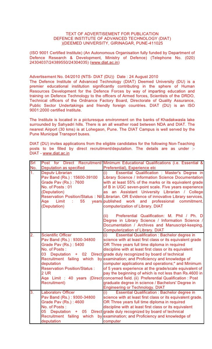 TEXT OF ADVERTISEMENT FOR PUBLICATION              DEFENCE INSTITUTE OF ADVANCED TECHNOLOGY (DIAT)                 )(DEEME...