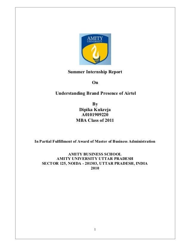 Summer Internship Report                                On           Understanding Brand Presence of Airtel               ...