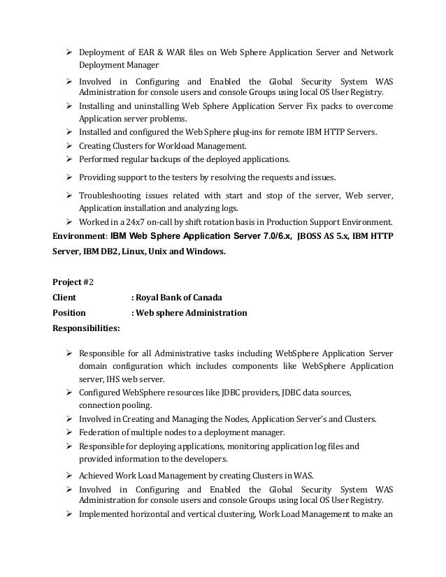 Charming Ibm Websphere Process Server Resume Contemporary - Example ...