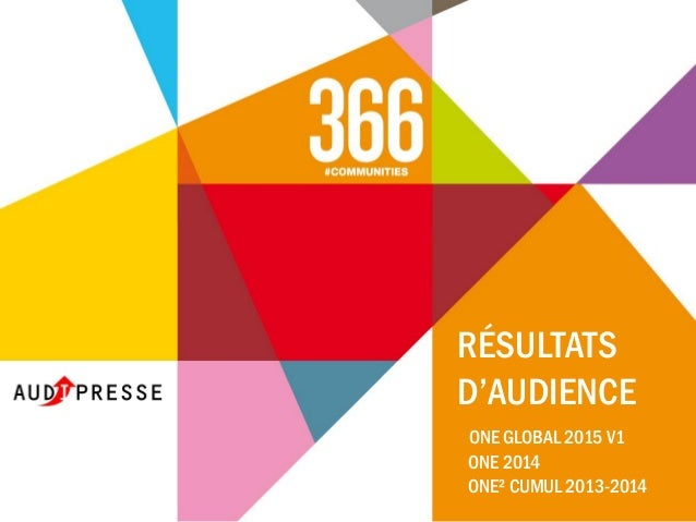 RÉSULTATS D'AUDIENCE ONE GLOBAL 2015 V1 ONE 2014 ONE² CUMUL 2013-2014