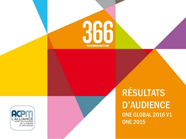 RÉSULTATS D'AUDIENCE ONE GLOBAL 2016 V1 ONE 2015