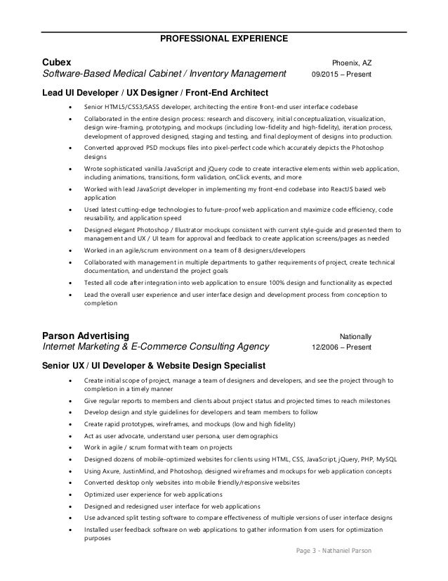 user interface developer resume