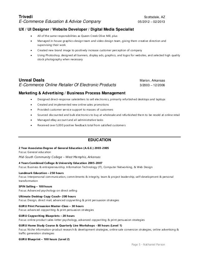 ui ux developer resume