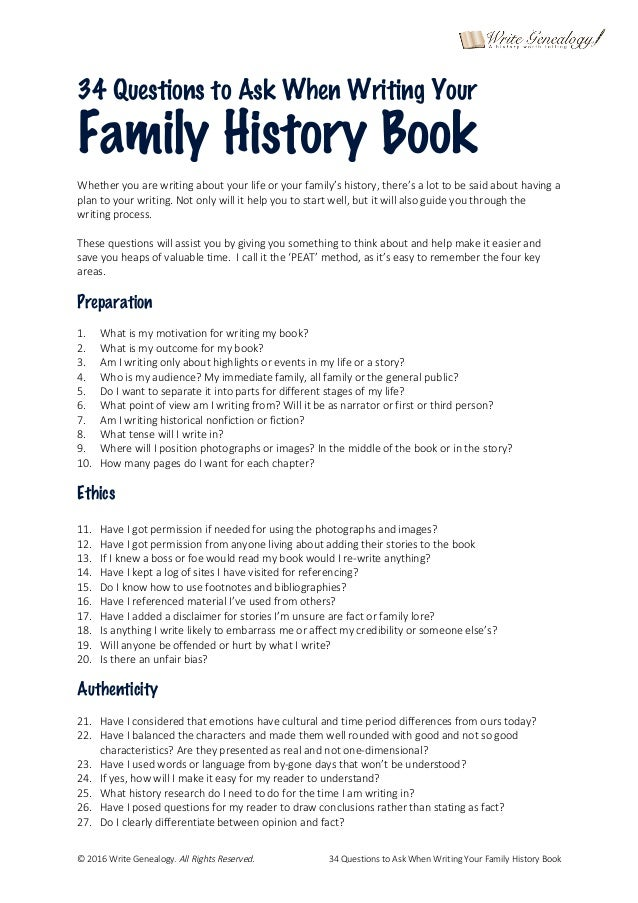 Writing and Publishing Your Family History