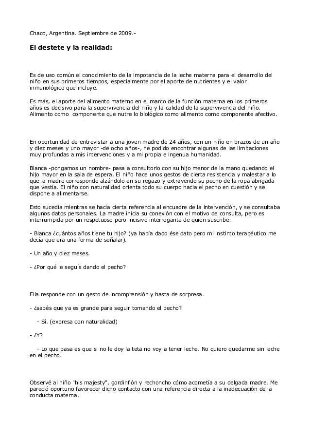 Chaco, Argentina. Septiembre de 2009.- El destete y la realidad: Es de uso común el conocimiento de la impotancia de la le...