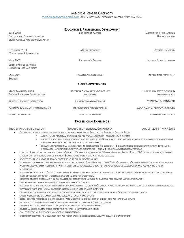 theater resume