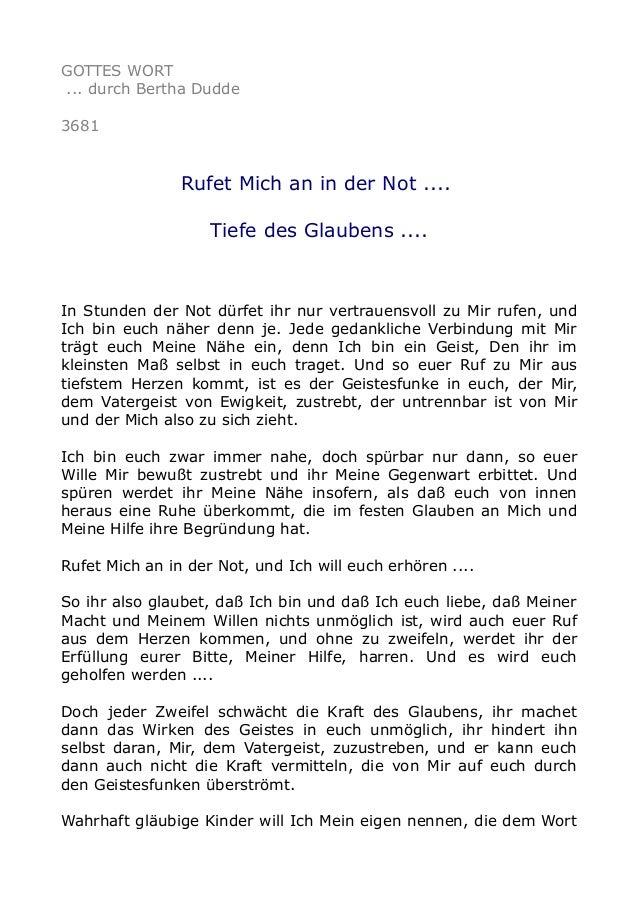 GOTTES WORT ... durch Bertha Dudde 3681 Rufet Mich an in der Not .... Tiefe des Glaubens .... In Stunden der Not dürfet ih...