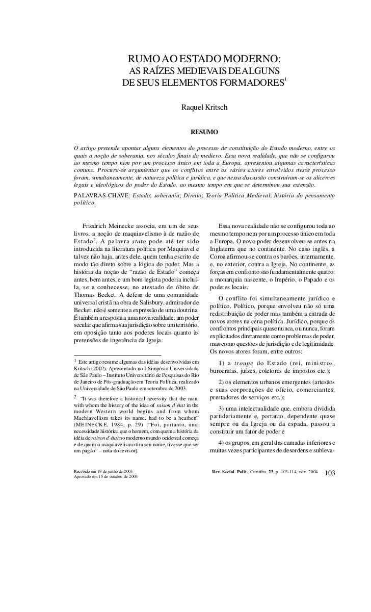 REVISTA DE SOCIOLOGIA E POLÍTICA Nº 23: 103-114 NOV. 2004                           RUMO AO ESTADO MODERNO:               ...