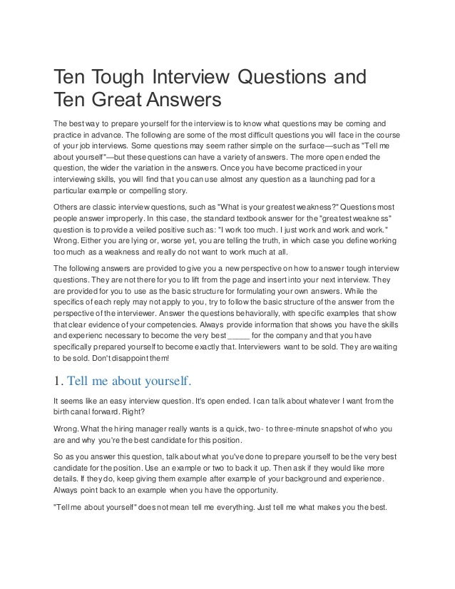 ten tough interview questions and ten great answers the best way to prepare yourself for the 2 why should i hire you - Why Are You The Best Candidate For This Position