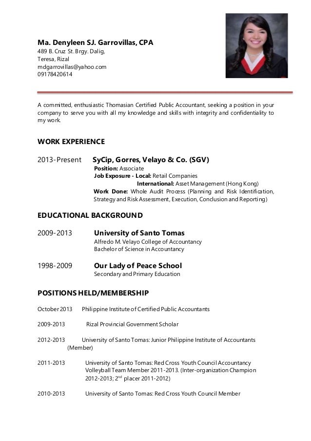 Resume. Ma. Denyleen SJ. Garrovillas, CPA 489 B. Cruz St. Brgy.  Resume For Cpa