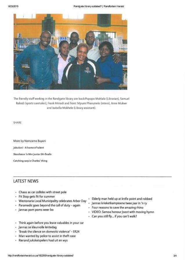 Randfontein Herald Article by Nomzamo Buyani