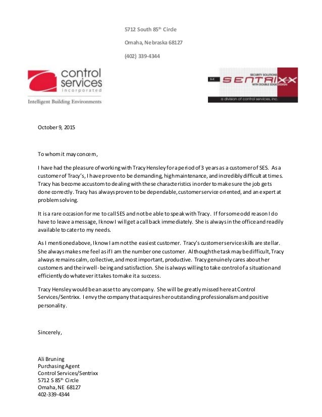 letter of recommendation - customer