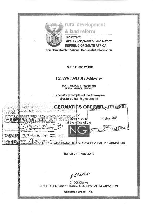Geomatics Officer Certificate