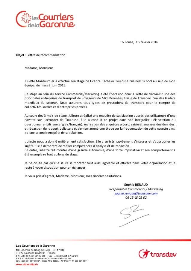 lettre de recommandation jm