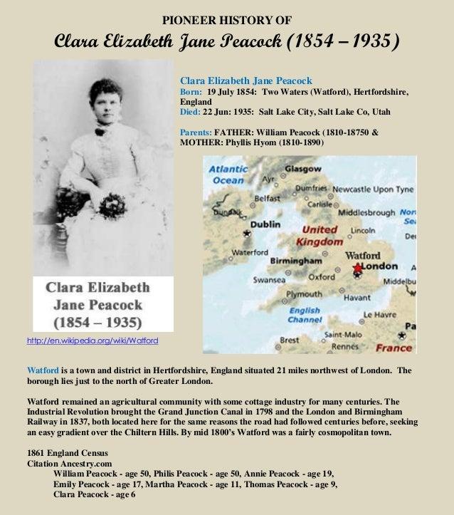 PIONEER HISTORY OF Clara Elizabeth Jane Peacock (1854 – 1935) Clara Elizabeth Jane Peacock Born: 19 July 1854: Two Waters ...