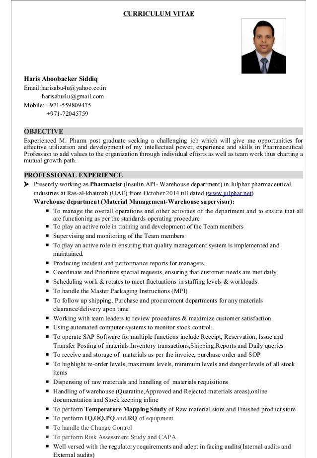 haris resume for warehouse