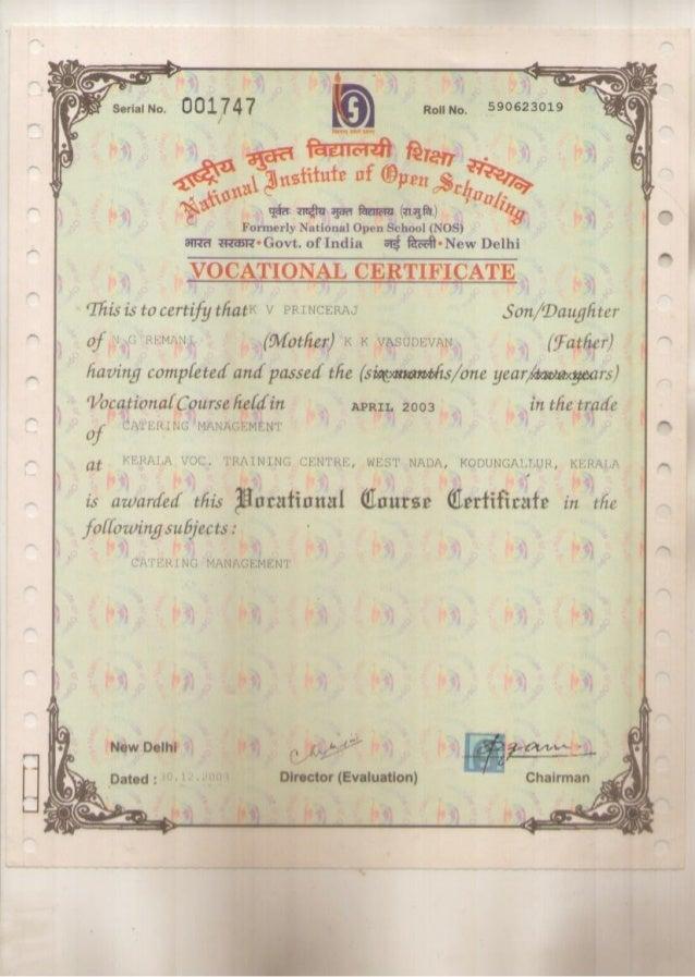 Vocational Certificate