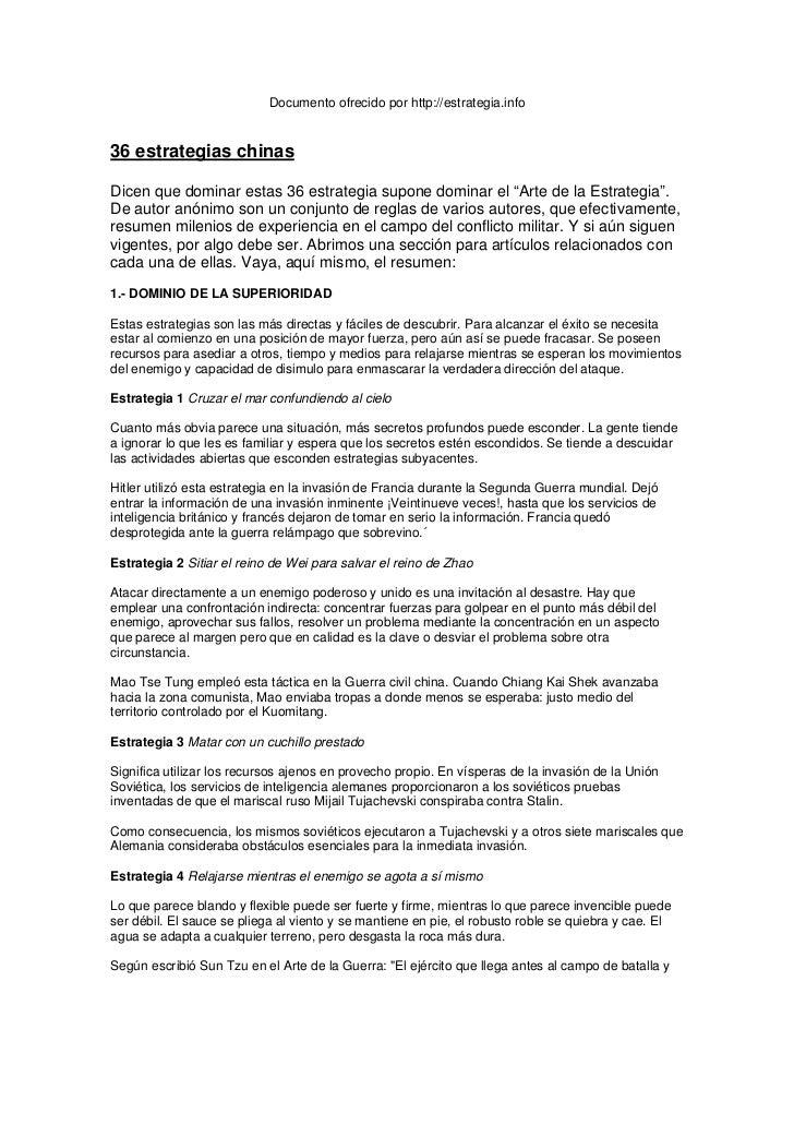 Documento ofrecido por http://estrategia.info36 estrategias chinasDicen que dominar estas 36 estrategia supone dominar el ...
