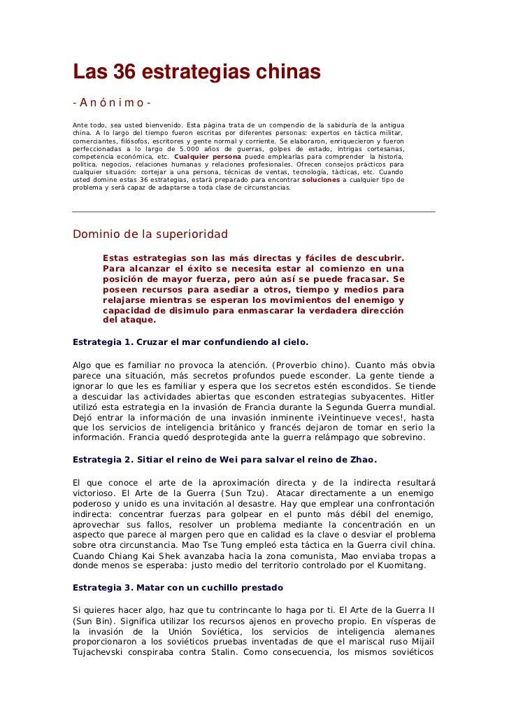 Las 36 estrategias chinas-Anónimo-Ante todo, sea usted bienvenido. Esta página trata de un compendio de la sabiduría de la...