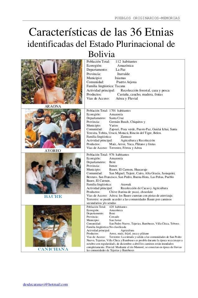 PUEBLOS ORIGINARIOS-MEMORIAS desdecaranavi@hotmail.com Características de las 36 Etnias identificadas del Estado Plurinaci...