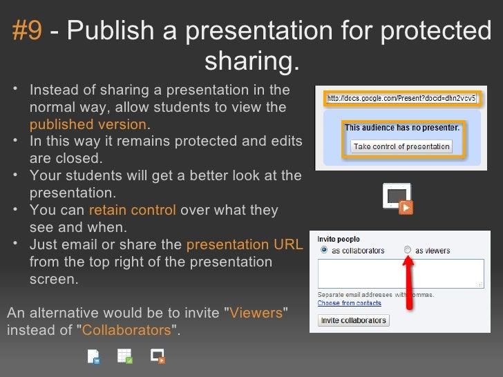 #9-Publishapresentationforprotected                sharing.• Insteadofsharingapresentationinthe  normalway,...