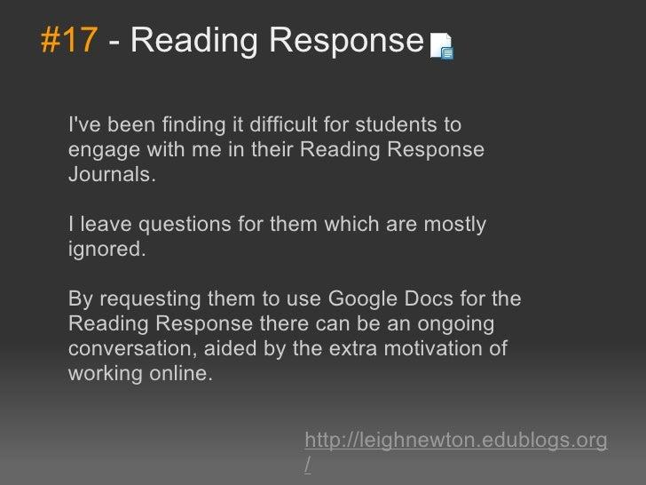 #17-ReadingResponse Ivebeenfindingitdifficultforstudentsto engagewithmeintheirReadingResponse Journals....