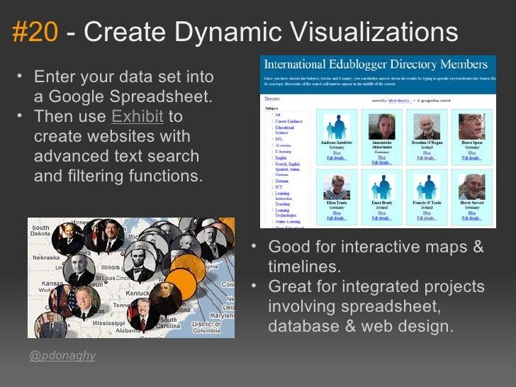 #20-CreateDynamicVisualizations• Enteryourdatasetinto  aGoogleSpreadsheet.• ThenuseExhibitto  createwebsi...