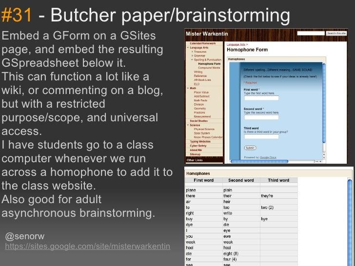 #31-Butcherpaper/brainstormingEmbedaGFormonaGSitespage,andembedtheresultingGSpreadsheetbelowit.Thiscanfu...