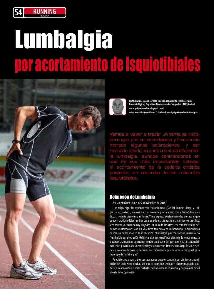 54   RUNNING       SALUDLumbalgiapor acortamiento de Isquiotibiales                                   Texto: Enrique Garcí...