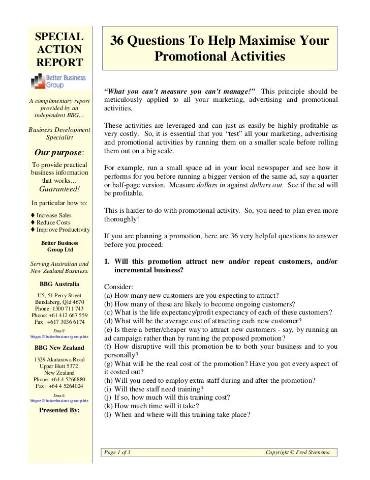SPECIAL                         36 Questions To Help Maximise Your  ACTION  REPORT                                 Promoti...