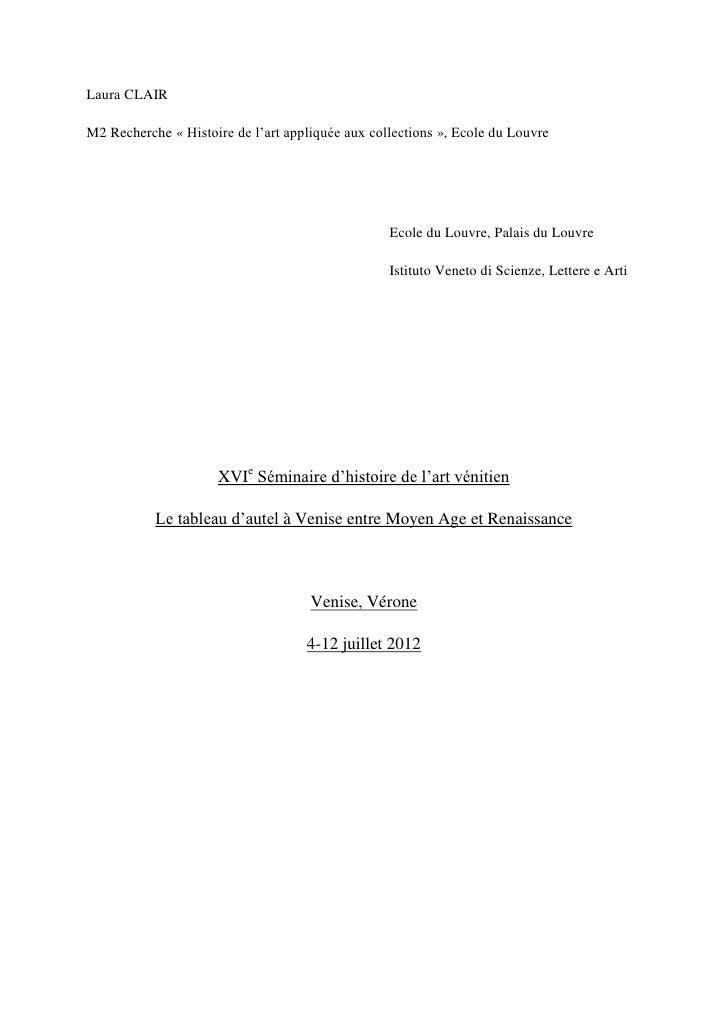 Laura CLAIRM2 Recherche « Histoire de l'art appliquée aux collections », Ecole du Louvre                                  ...