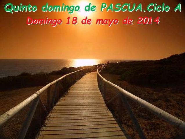 Quinto domingo de PASCUA.Ciclo A Domingo 18 de mayo de 2014