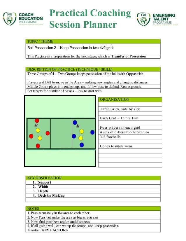 TOPIC / THEME Ball Possession 2 – Keep Possession in two 4v2 grids This Practice is a preparation for the next stage, whic...