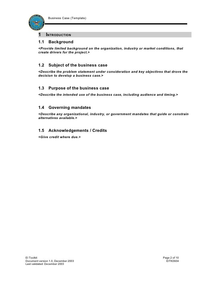 Business Case Template Simple Business Case Templates