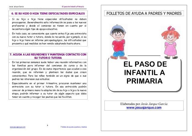Jesús Jarque García El paso de Infantil a Primaria www.jesusjarque.com Folletos de ayuda a padres y madres 4 6. SI SU HIJO...