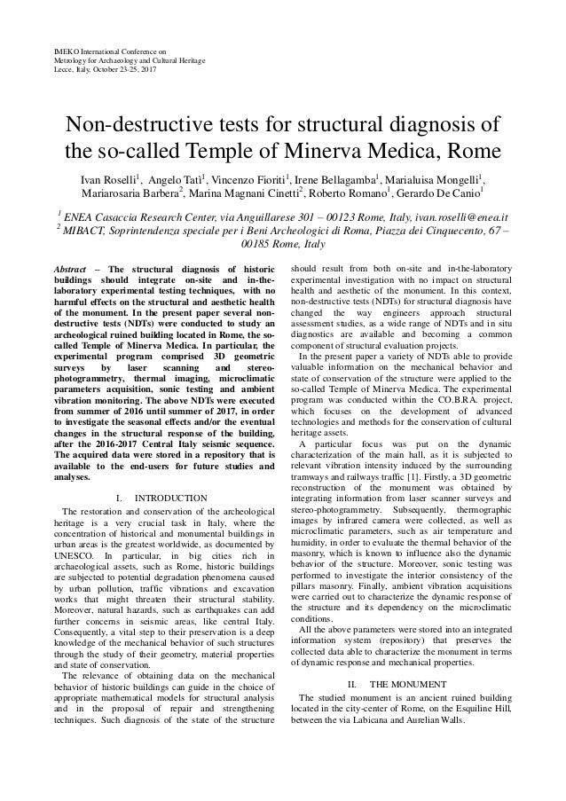 IMEKO International Conference on Metrology for Archaeology and Cultural Heritage Lecce, Italy, October 23-25, 2017 Non-de...