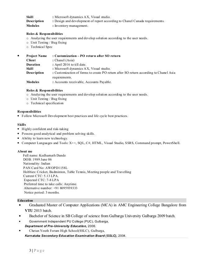 Kedharnath - Senior Software Engineer(AX Technical) 2 Yr Exp