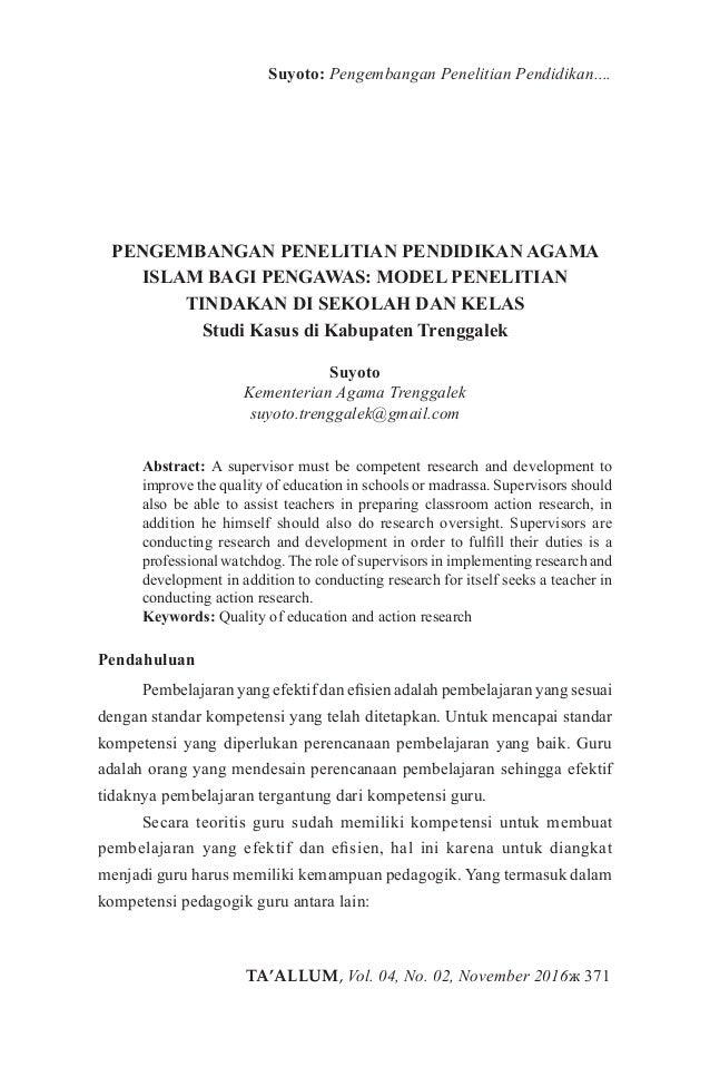 TA'ALLUM, Vol. 04, No. 02, November 2016ж 371 Suyoto: Pengembangan Penelitian Pendidikan.... PENGEMBANGAN PENELITIAN PENDI...