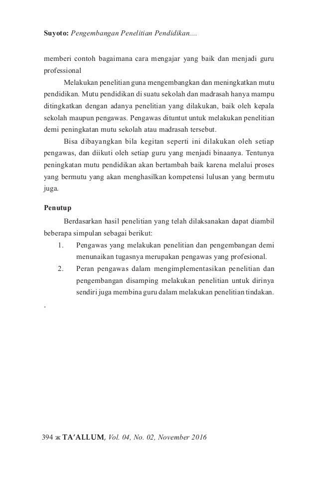 Pengembangan Penelitian Pendidikan Agama Islam Bagi Pengawas Model P