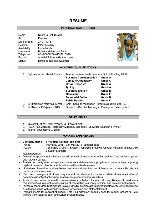 resume lia