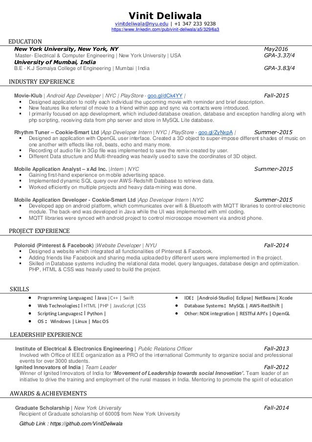 vinit deliwala resume